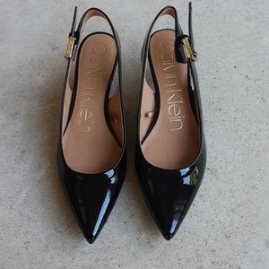 BRAND NEW Calvin Klein black slingback kitten heel